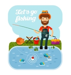 Fisherman with a fishing rod in his hands Camping vector