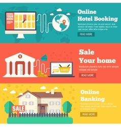 Flat set of social business travel online banking vector