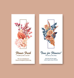 flyer template with autumn flower concept design vector image