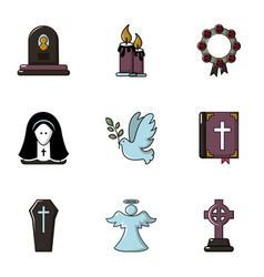 Funeral home icons set flat style vector