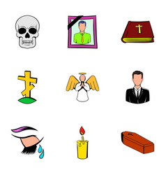 Funeral icons set cartoon style vector