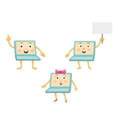 funny cartoon laptop computer characters vector image