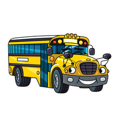 Funny small school bus with eyes and mouth vector
