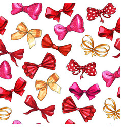 Gift bows hand drawn seamless pattern vector