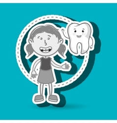girl with tooth isolated icon design vector image