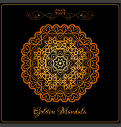 gold color indian mandala over black vector image
