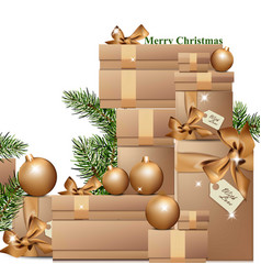 gold gift boxes in winter holidays vector image