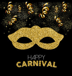 Gold glitter happy carnival mask decoration design vector