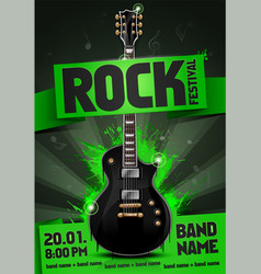 green rock festival flyer design template vector image