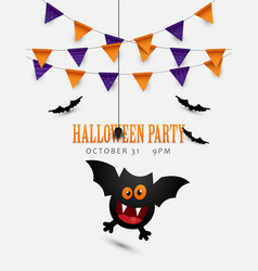 halloween poster design with cute flying bat vector image