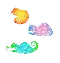 Hand drawn doodle chameleon set vector