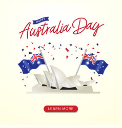 Happy australia day celebration poster with flags vector