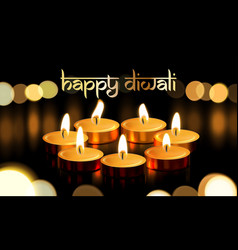 Happy diwali gold candle light indian greeting vector