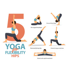 Infographic 5 yoga poses for hip flexibility vector