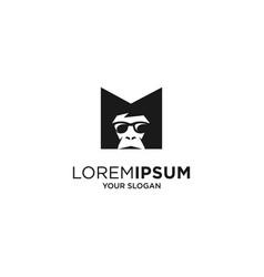 Letter m monkey silhouette logo vector