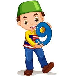 Little boy holding number nine vector