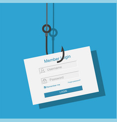 login into account and fishing hook vector image