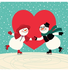 Lovers snowmen at the ice rink vector
