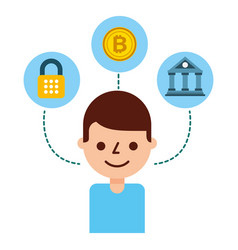 Man bitcoin bank security fintech vector