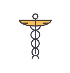 medicine sign flat line concept vector image