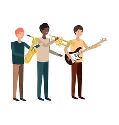 men with musical instruments character vector image
