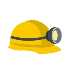 Miners helmet with lamp flat icon vector