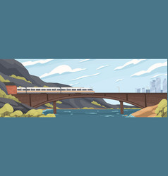modern speedy train on railway at old brick bridge vector image