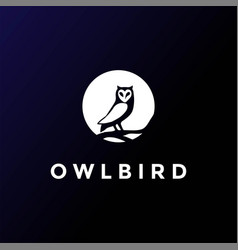 Moon owl dark night logo design vector