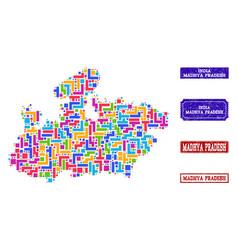 Mosaic map of madhya pradesh state and grunge vector
