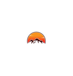 mountain sunset nature logo vector image