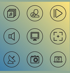 Multimedia icons line style set with communication vector
