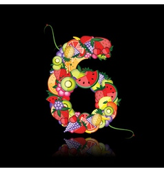number six made from fruits vector image