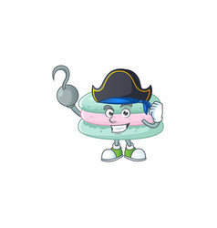 One hand pirate vanilla blue macarons wearing hat vector