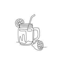 one single line drawing fresh lemonade ice on vector image