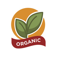 Organic food fresh from farm label vector