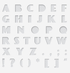 Paper cut alphabet cutted from paper font vector