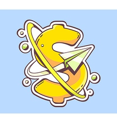 paper plane flying around an yellow dolla vector image