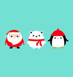 penguin bird white bear santa claus face head vector image