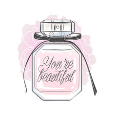 perfume bottle with you are beautiful lettering vector image