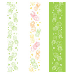 Pineapples vertical seamless repeat pattern vector