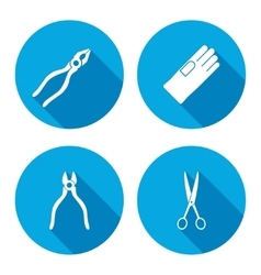 Pliers scissors glove tongs icons set Repair vector