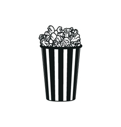 Popcorn simple black icon on white background vector image