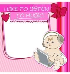 Postcard little kid listening to music vector