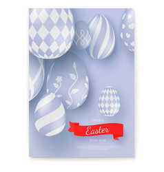 poster with greeting happy easter holidays vector image