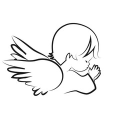 praying angel child believe icon vector image