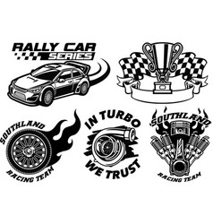 Racing badge design set vector