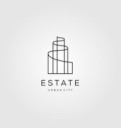 real estate line art logo building icon vector image