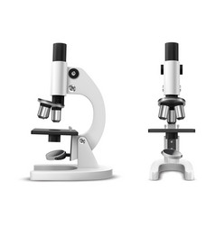 Realistic or 3d microscope side and front view vector