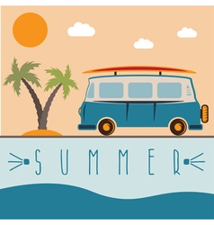 retro bus with surfboard design template vector image