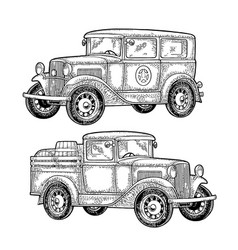 Retro police car and pickup truck with barrel vector